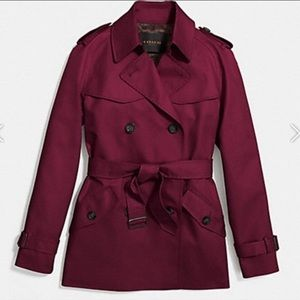 NWT Coach Wine Classic Short Trench Coat